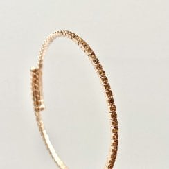 Danish Collection Thin bangle with stones - Gold/Champagne