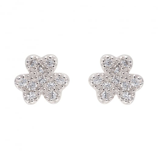Danish Collection Three Leaf Clover Silver Stud Earrings