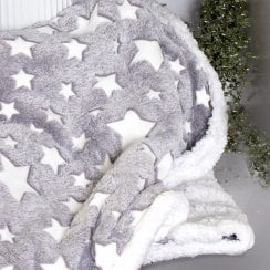 Danish Collection Throw grey with white stars - 130x150cm