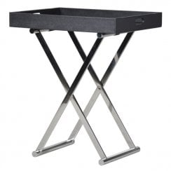 Danish Collection Tray Table Black with Steel Legs