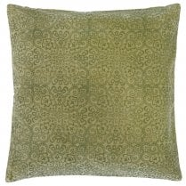 Danish Collection Velvet Cushion Cover with Green Printing