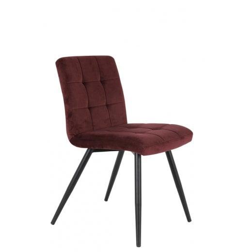 Danish Collection Velvet Dining Chair - Burgundy