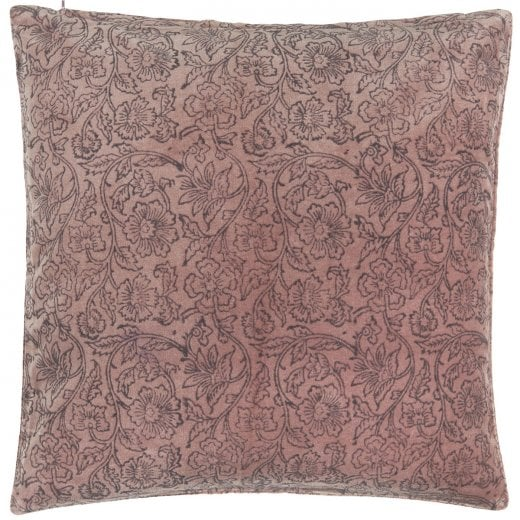 Danish Collection Velvet Purple Cushion Cover with Print