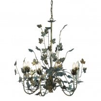 Danish Collection Verdigris Leaf Chandelier