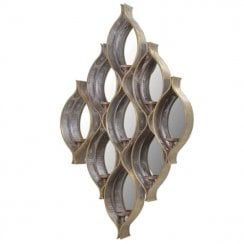 Danish Collection Wall Object Mirrored With Candle Holders