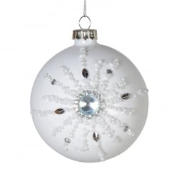 Danish Collection White Bead Snowflake Bauble