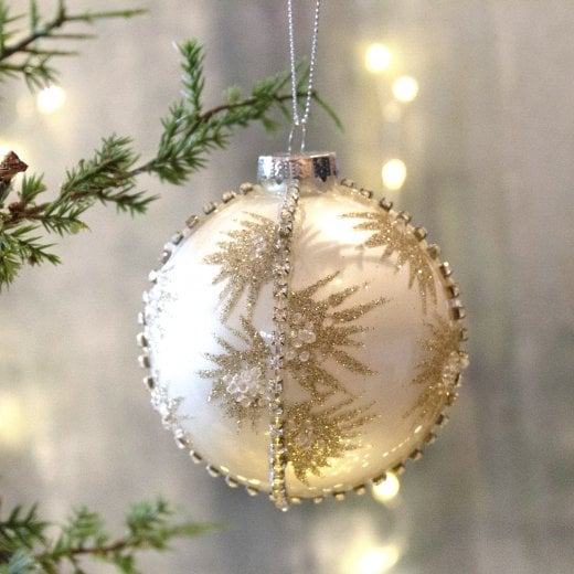Danish Collection White Diamante and Glitter Bauble