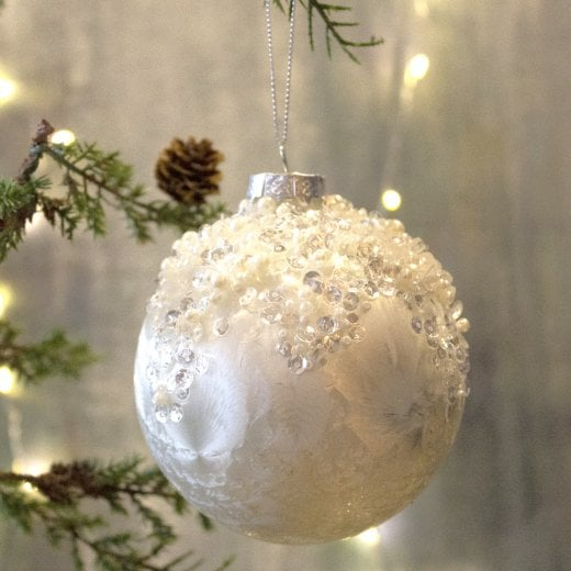 Danish Collection White Encrusted Bauble