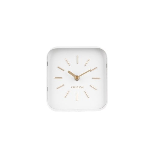 Danish Collection White Steel Squared Table Clock