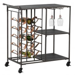 Danish Collection Wine Trolley Iron - Red H85cm x W80cm