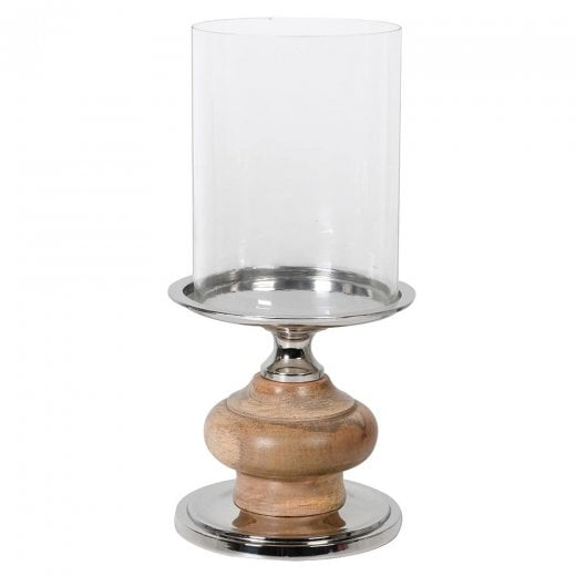 Danish Collection Wood and Nickel Pillar Candle Holder - H37cm