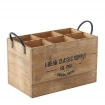 Danish Collection Wood Bottle Carrier with Metal Handles