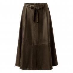 Depeche A-Line Leather Skirt with Belt - Dusty Taupe