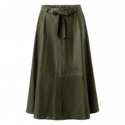 Depeche A-Line Leather Skirt with Belt - Leaf Green