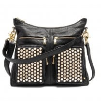 Depeche Large Leather Bag with Gold Rivets