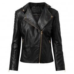 Depeche Leather Biker Jacket with Studs- Black