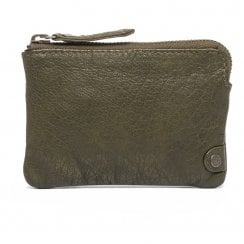 Depeche Leather Credit Card Holder/Purse - Army Green