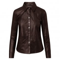 Depeche Leather Shirt with Buttons - Brown