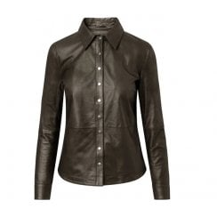 Depeche Leather Shirt with Buttons - Dusty Taupe