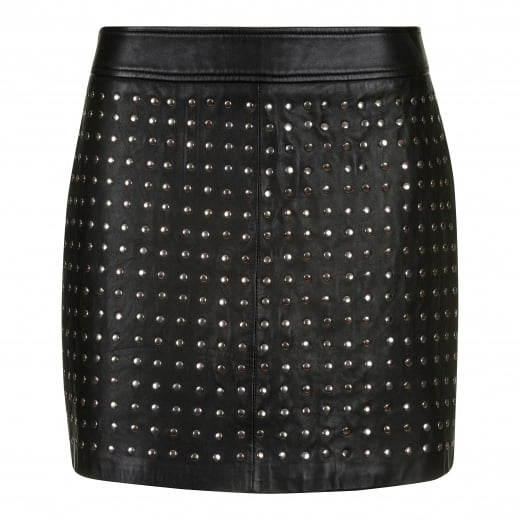 Depeche Leather Skirt With Studs