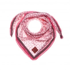 erfurt Cotton Scarf with Fringes - Raspberry Pink