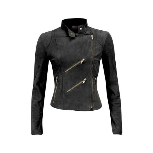 FAB Paris Suede Biker Jacket - Charcoal - JH