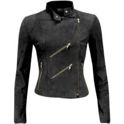 FAB Paris Suede Biker Jacket - Charcoal