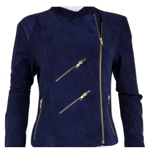 FAB Paris Suede Biker Jacket - Dark Blue - JH