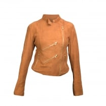 FAB Paris Suede Biker Jacket - Dark Tan