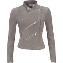 FAB Paris Suede Biker Jacket - Light Grey - JH