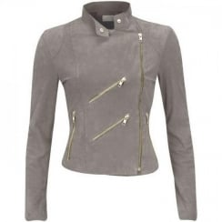 FAB Paris Suede Biker Jacket - Light Grey
