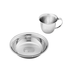 Georg Jensen Mirrored Stainless Steel Cup and Plate Set