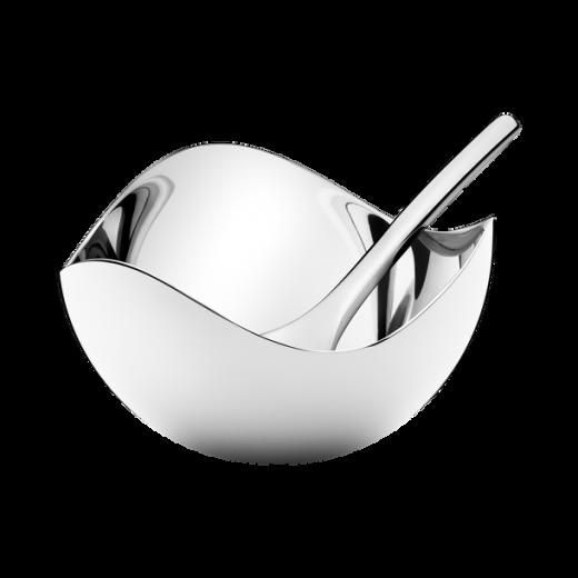 Georg Jensen Stainless Steel Mirrored Salt Cellar and Spoon