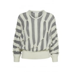 Gestuz Grey and White Stripe Jumper