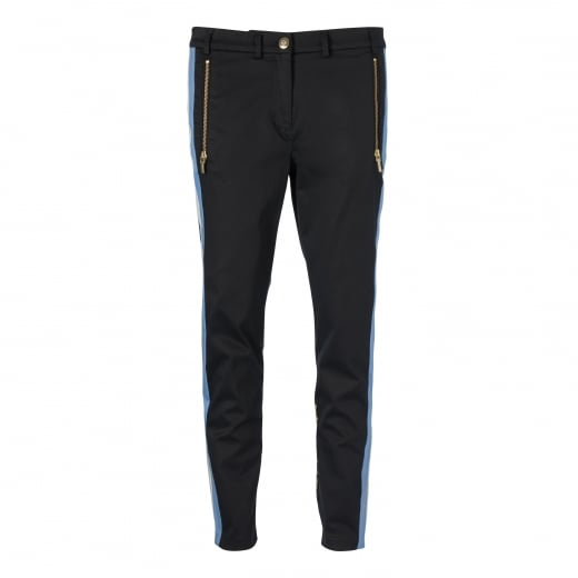 Gustav 7/8 Embroidery Trouser - Black