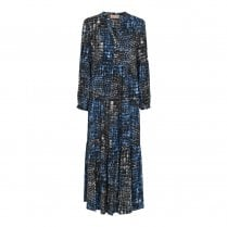 Gustav Brooklyn Frill Dress - Ink Blue Pattern