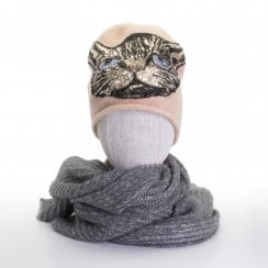 Gustav Faisa Knit Hat With Cat - LIGHT PINK