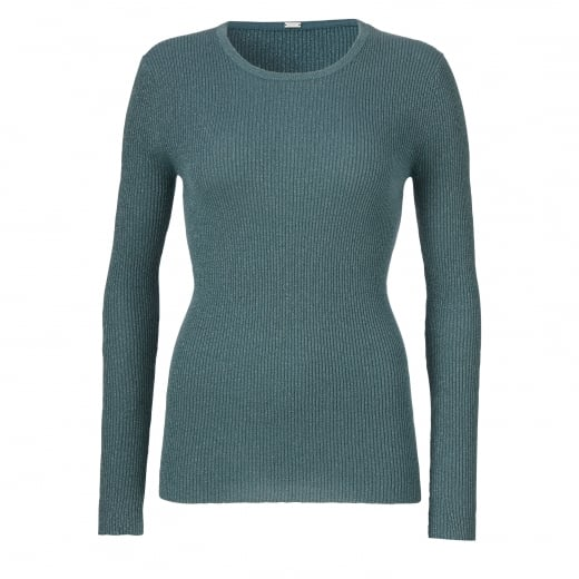 Gustav Lurex Rib Knit Top - Teal