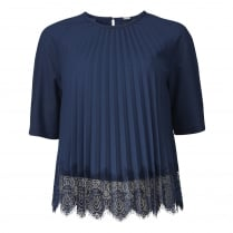 Gustav Plisse Blouse - Navy Blue