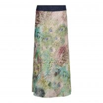 Gustav Printed Bias Cut Skirt - Peacock - JH