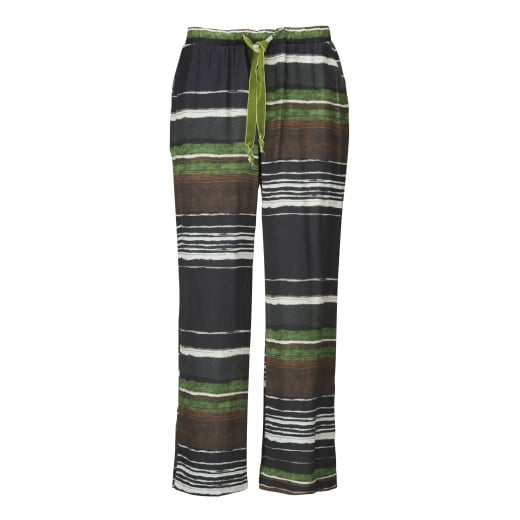Gustav Striped Print Pants - Green
