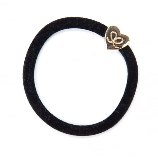 By Eloise Hair Tie BY ELOISE in Black Velvet with Gold Heart