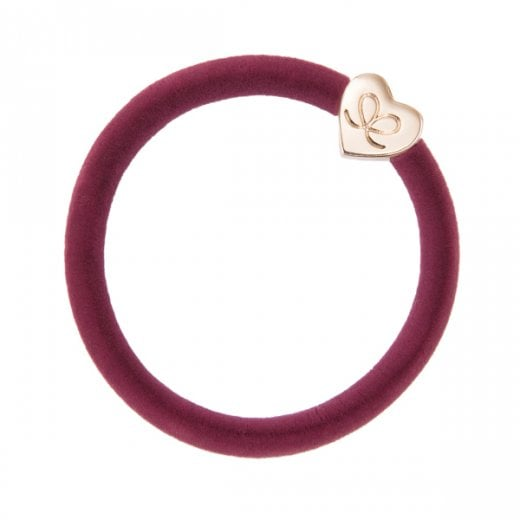 By Eloise Hair Tie BY ELOISE in Burgundy Velvet with Gold Heart