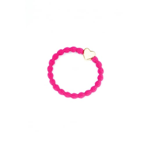 By Eloise Hair Tie BY ELOISE in Fuschsia with Gold Heart