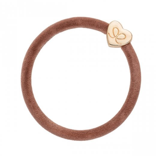 By Eloise Hair Tie BY ELOISE in Latte Velvet with Gold Heart