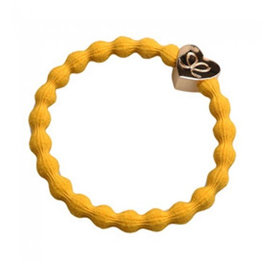 By Eloise Hair Tie BY ELOISE in Mustard Yellow with Gold Heart