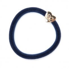 Hair Tie BY ELOISE in Navy Velvet with Gold Heart