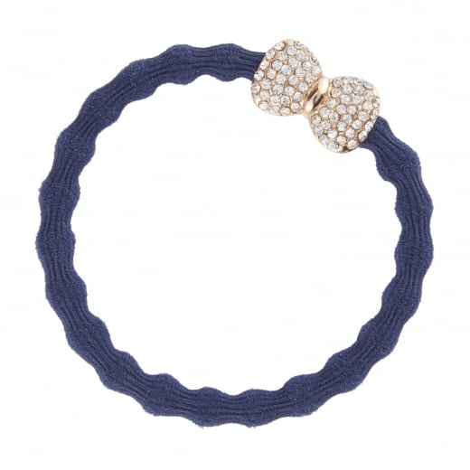 By Eloise Hair Tie BY ELOISE in Navy with a Diamante Bow