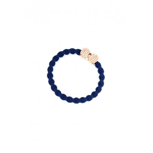 By Eloise Hair Tie BY ELOISE in Navy with Rose Gold Bow