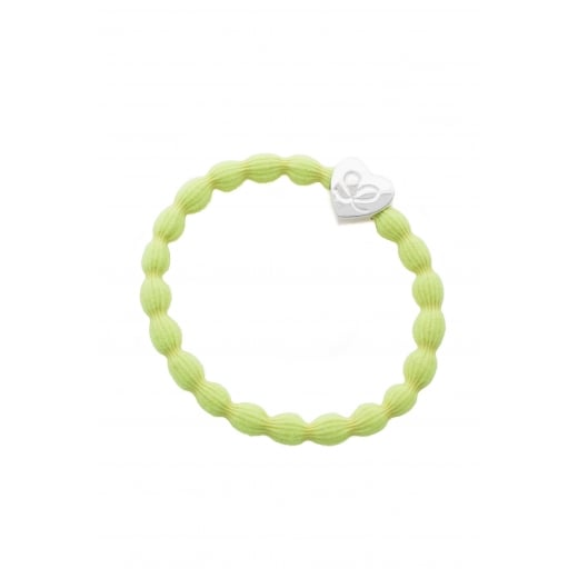 By Eloise Hair Tie BY ELOISE in Neon Lemon with Silver Heart